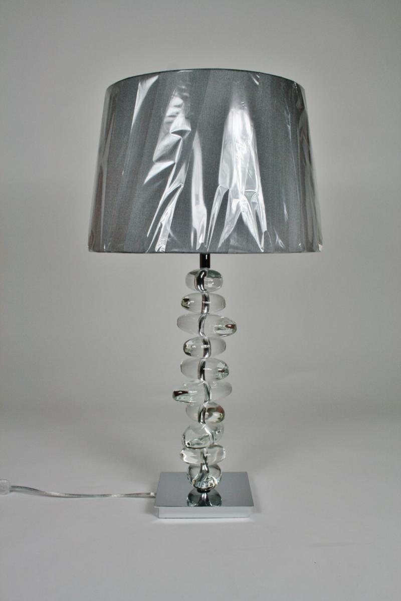 Amazing Pebble Crystal Table Lamp And Grey Shade